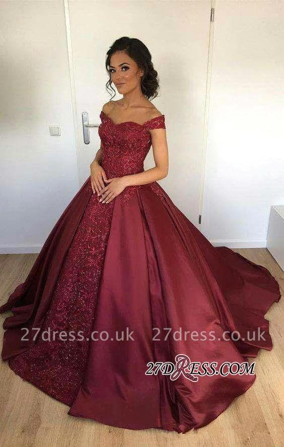 Appliques Ball-Gown Burgundy Off-the-Shoulder Lace Evening Dress UK