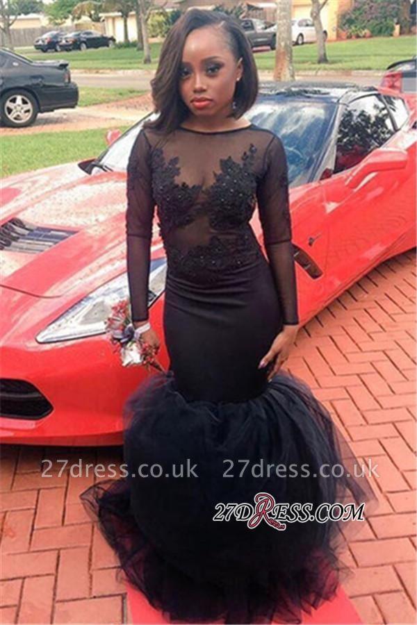 Appliques Tulle Black Illusion Mermaid Long-Sleeve Sheath Elegant Lace Prom Dress UK JJ0127 BK0