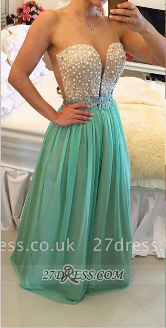 Elegant Illusion Sleeveless Long Evening Dress UK Pearls Appliques Chiffon Prom Gown BT0
