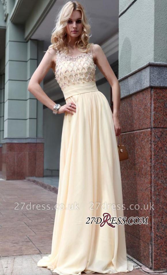 Zipper Beads Sleeveless Chiffon Newest A-line Jewel Prom Dress UK