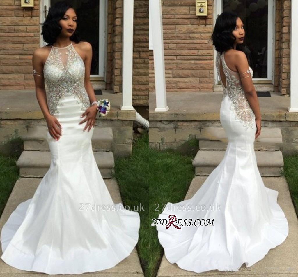 Crystal Sleeveless Mermaid Elegant White Halter Prom Dress UK BK0