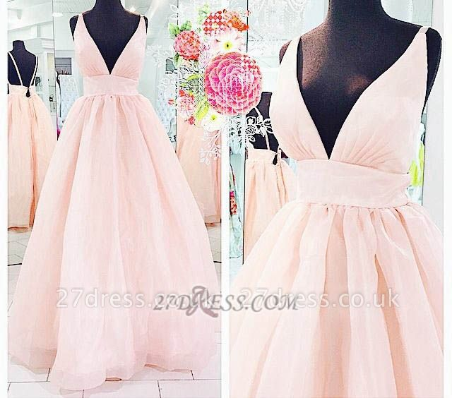 Gorgeous Deep V-neck Sleeveless Prom Dress UK With Floor-length And backless