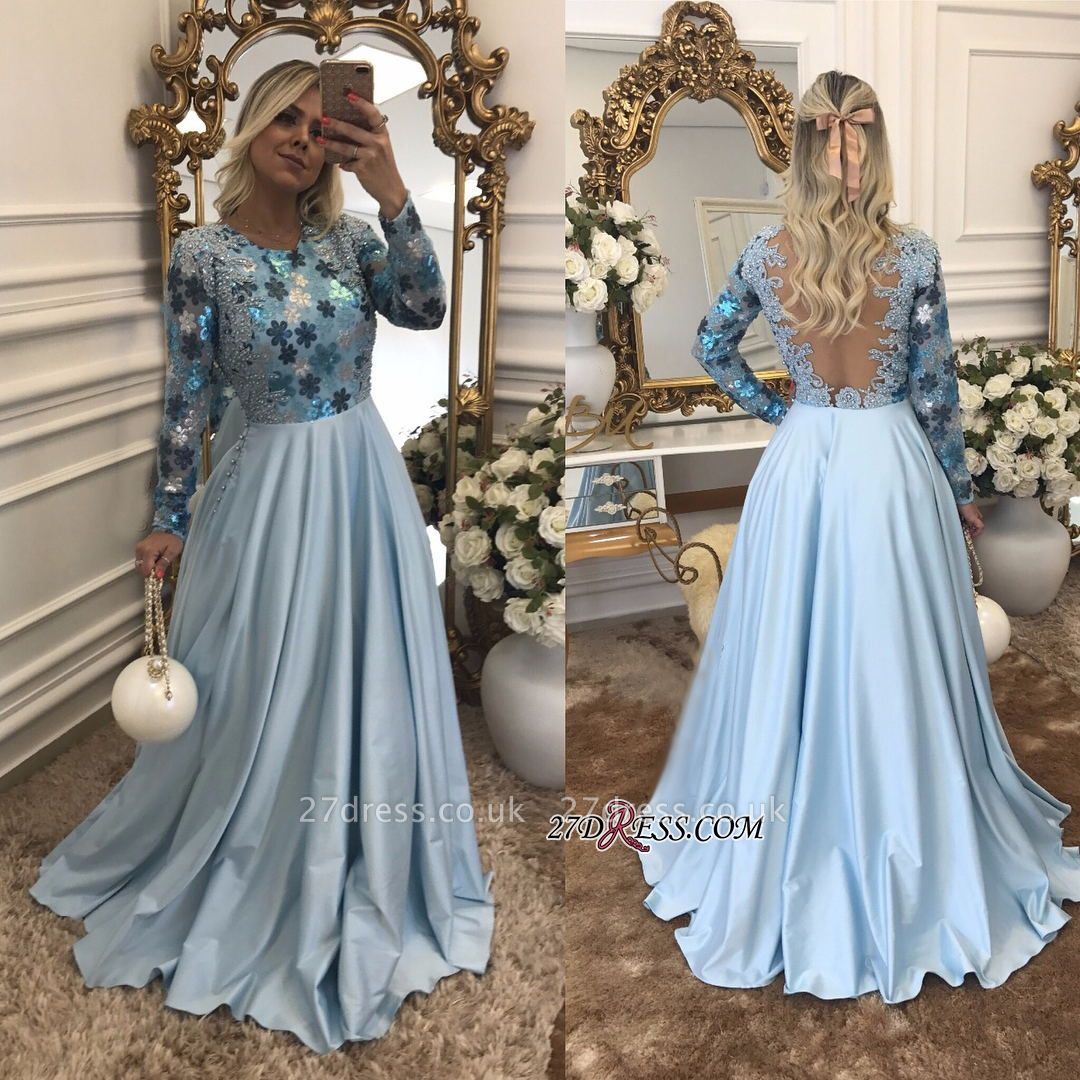 Lace Long-Sleeves Beaded Blue A-Line Scoop Evening Dress UK