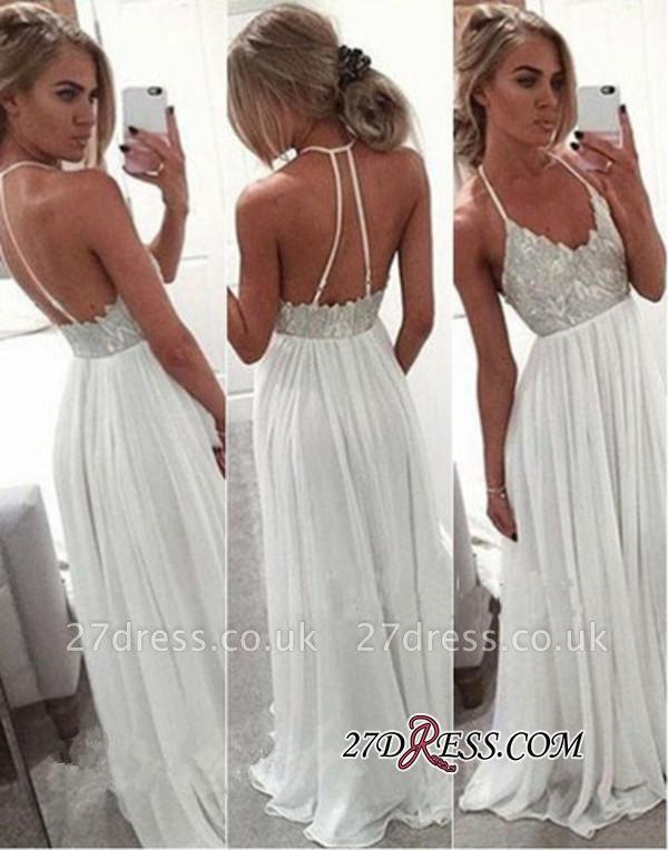 Spaghetti-Strap A-Line White Summer Long Chiffon Open-Back Lace Prom Dress UK BA2815
