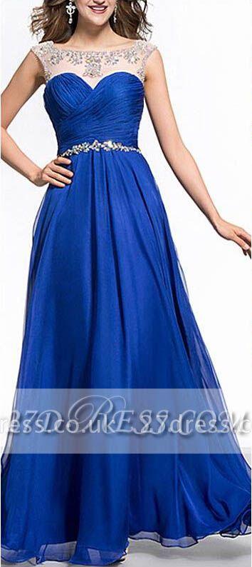 Royal Blue A-Line Chiffon Prom Dress UKes UK Ruffles Floor Length Evening Dress UKes UK with Beadings