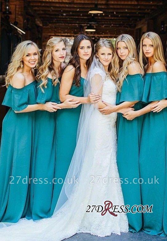 Chiffon Sexy Wedding Off Hunter Lang Shoulder Party Green Bridesmaid Dress UK