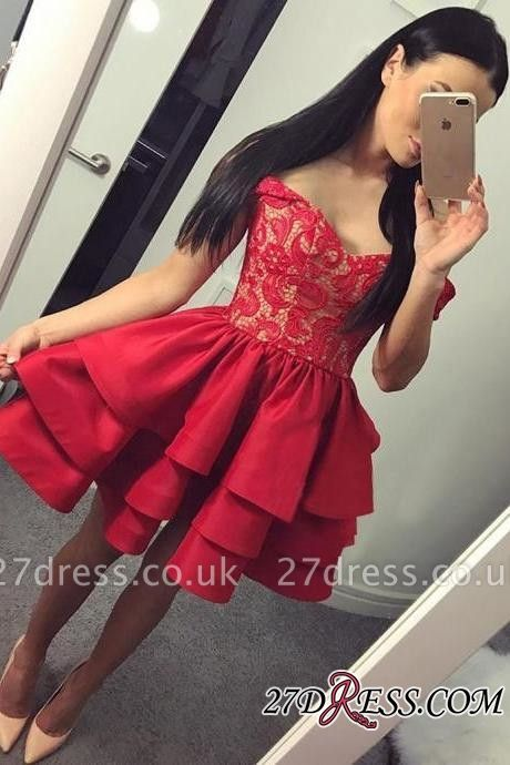 Lace Short Ruffles Off-the-shoulder Modest Red Homecoming Dress UK