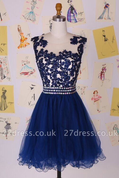 Sexy Illusion Cap Sleeve Short Cocktail Dress UK With Appliques Beadings