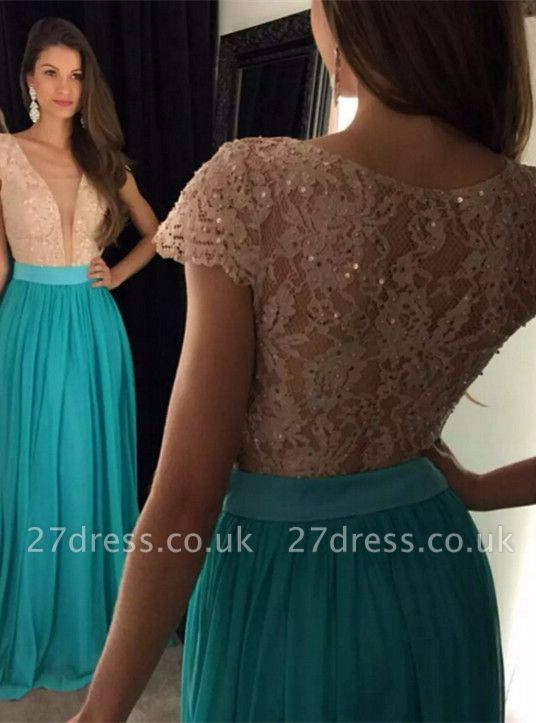 Newest Lace Sequined V-neck Evening Dress UK Short Sleeve A-line