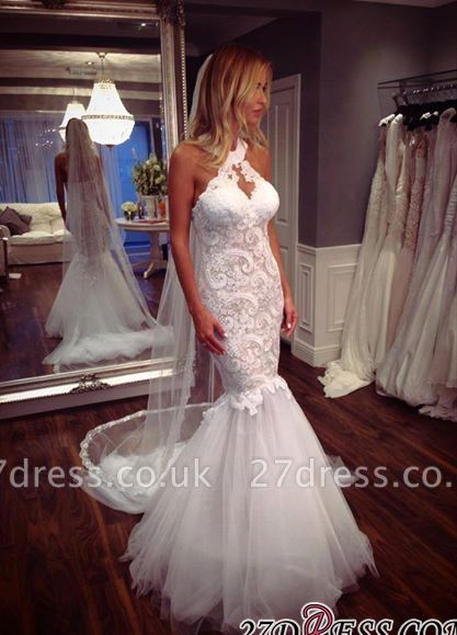 Sexy Mermaid Tulle Sleeveless Lace Halter Elegant Wedding Dress