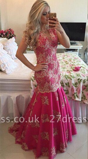 Chic Lace Appliques Mermaid Sequins Prom Dress UK Fuchsia Sweep Train