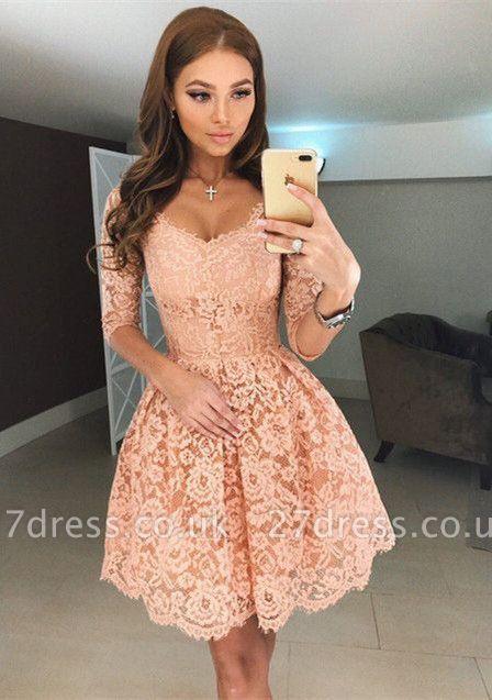 Beautiful Half Sleeve Lace Short Homecoming Dress UK On Sale BA6953