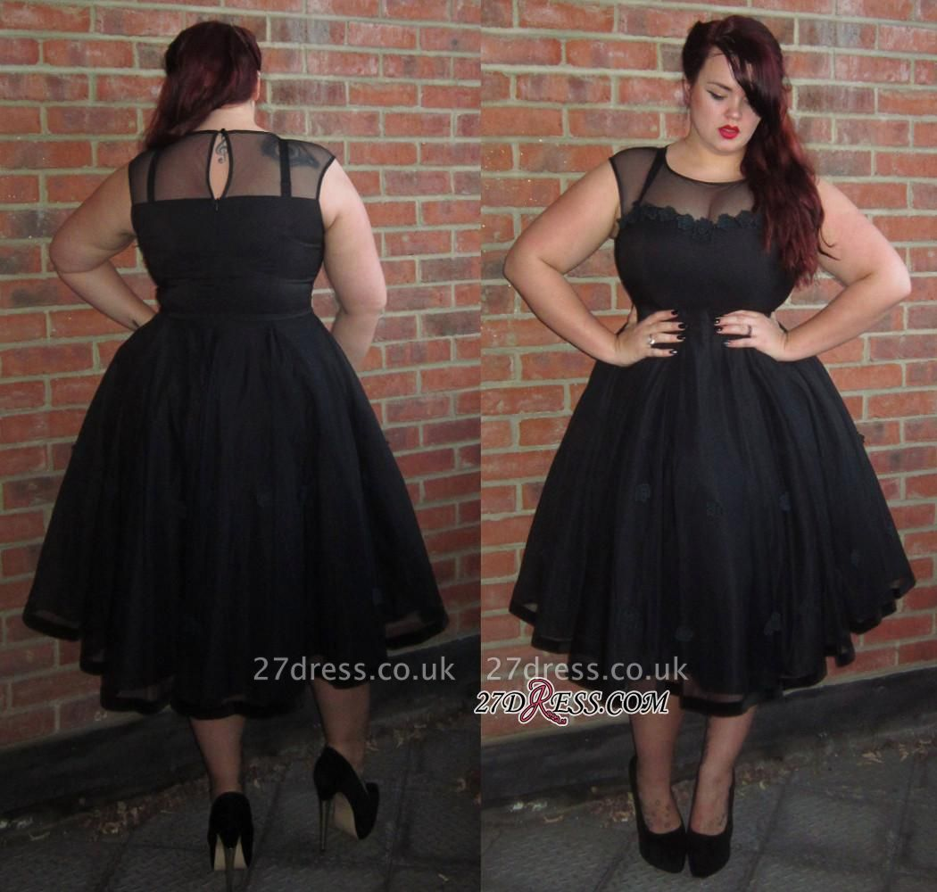 Cap-Sleeve A-line Plus-Size Black Jewel Tea-Length Newest Prom Dress UK BA6869