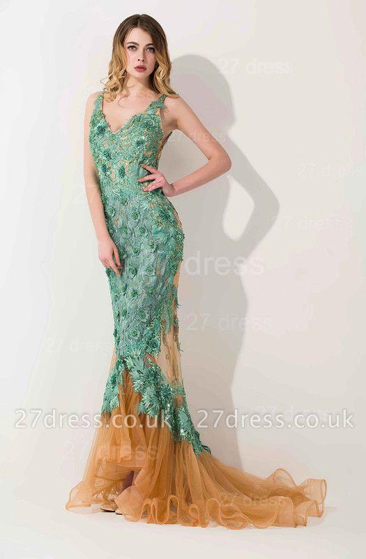 Elegant Appliques V-neck Mermaid Prom Dress UK Sweep Train