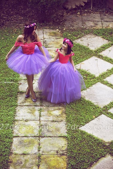 Newest Off-the-shoulder Tulle Mother And Daughter Dress UK With Lace