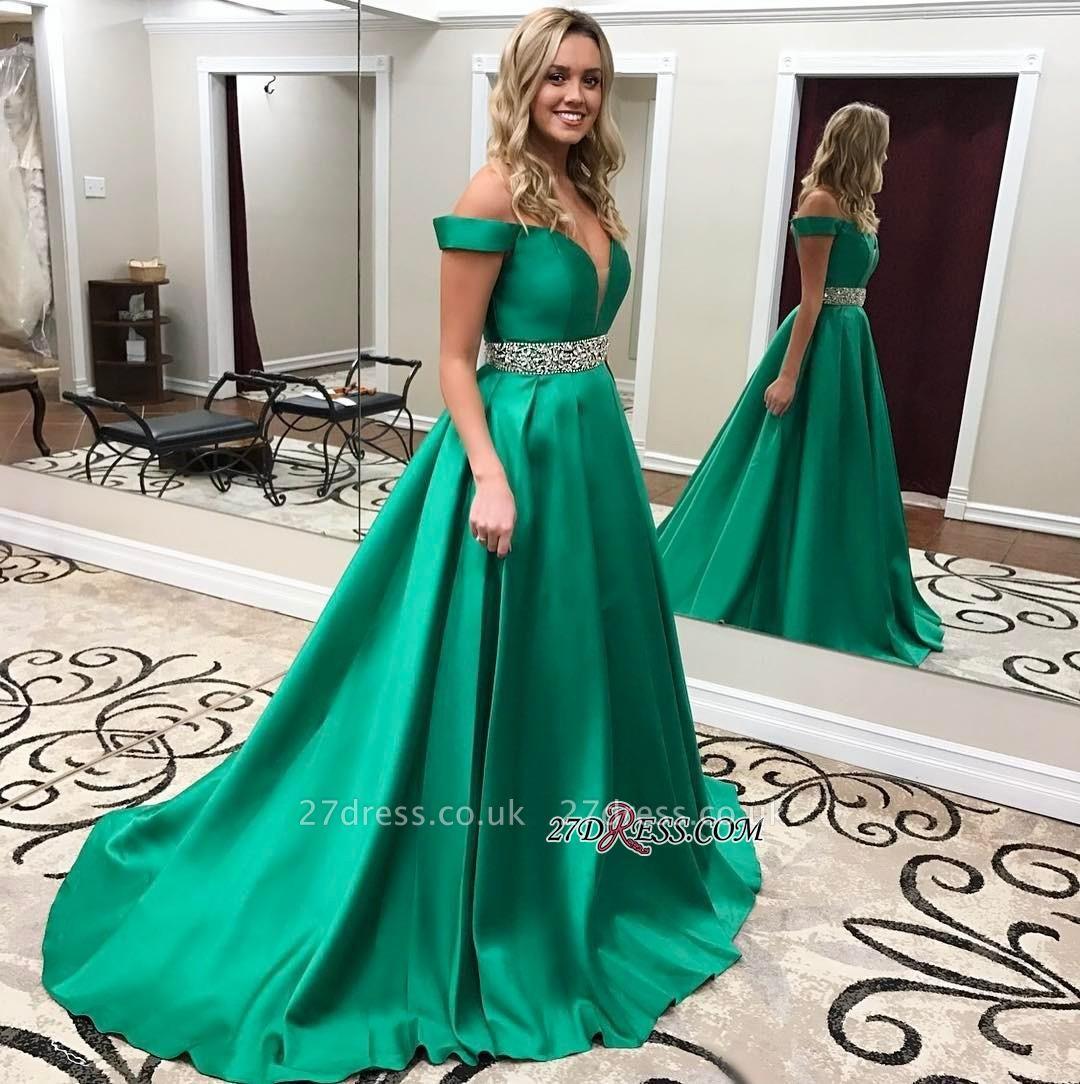 Crystal Off-the-Shoulder Luxury Green Prom Dress UK