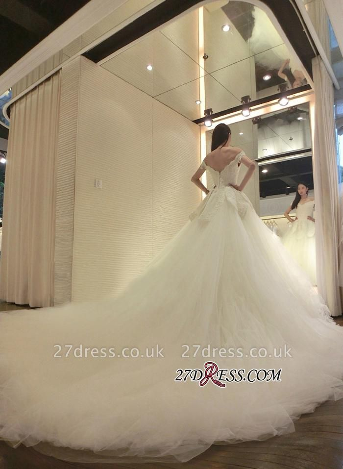 Tulle Beads Newest Lace-Appliques Off-the-shoulder Long-Train Wedding Dress