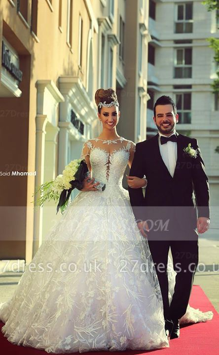 Train Long Sleeve Lace Wedding Dresses UK with Sweep New Arrival Ball Gown Bridal Gown