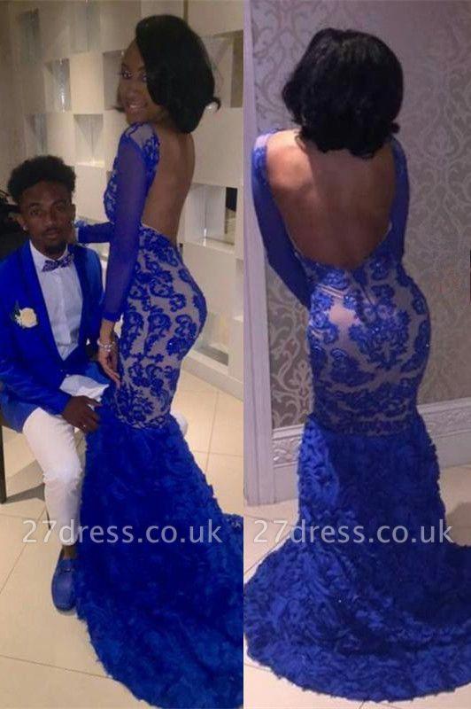 Royal blue mermaid prom Dress UK, lace evening Dress UK BK0 BA8215