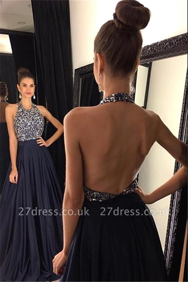 Elegant Black Halter Prom Dress UKes UK Backless Long Chiffon With Beadings AP0