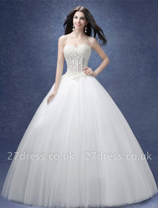 Elegant Sweetheart Pearls Wedding Dresses UK Ball Gown Tulle Bridal Gown