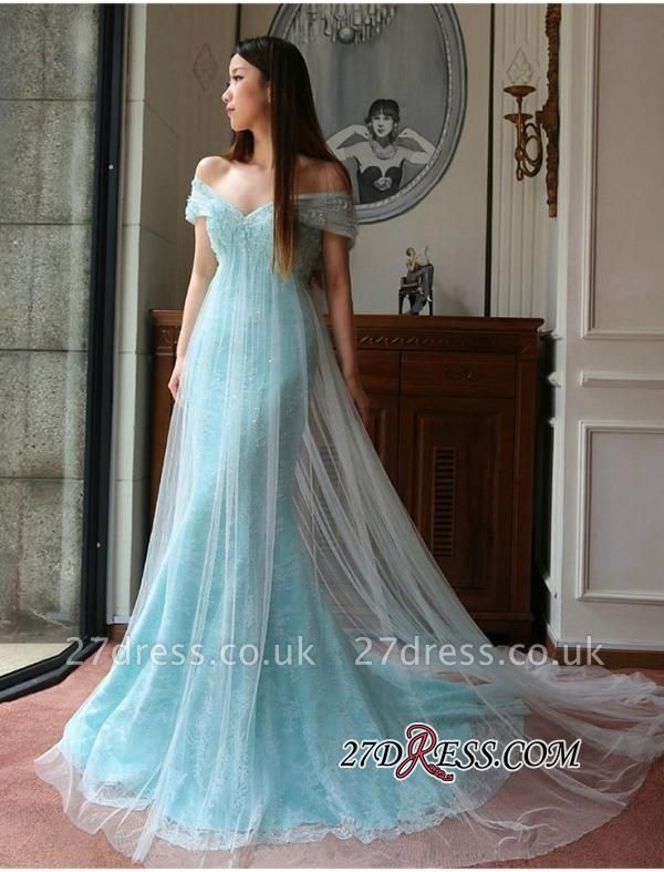 Stunning Off-the-shoulder Lace Mermaid Tulle Evening Dress UK