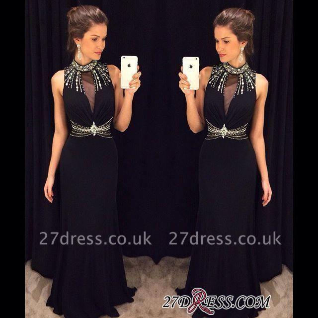 Crystal Sleeveless Sheath Black High-Neck Natural Long Prom Dress UKes UK AP0