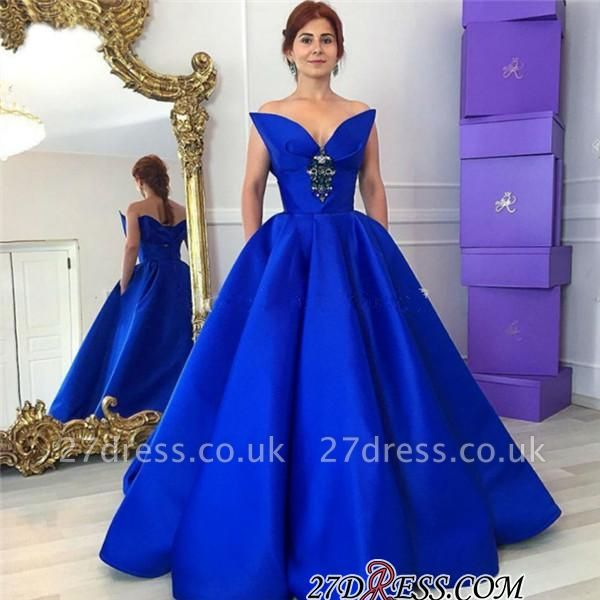 Sexy Crystal Floor-Length Royal-Blue Ball-Gown Prom Dress UK