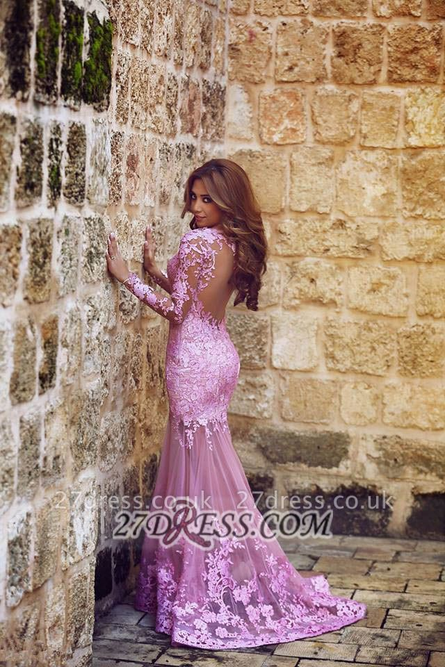 Modern Long Sleeve Mermaid Prom Dress UK Floor-length With Lace Appliques