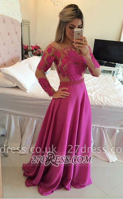 Luxury Long Sleeve Lace Prom Dress UK Long Chiffon Evening Gowns BT