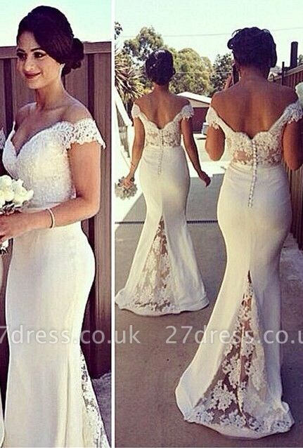 Elegant Off-shoulder Mermaid Bridesmaid Dress UK With Lace Appliques