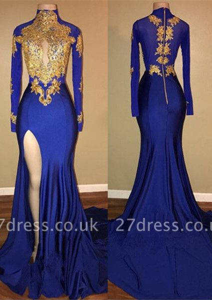 Sexy Royal Blue Prom Dress UK Mermaid Long Sleeve With Appliques BA7711