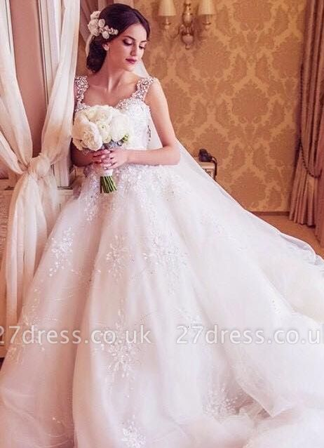 Princess Straps Ball Gown Wedding Dresses UK With Beadss Appliques
