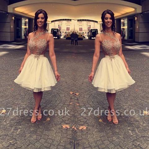 Beaded A-Line Appliques Short Chiffon Lace Sleeveless Homecoming Dress UK