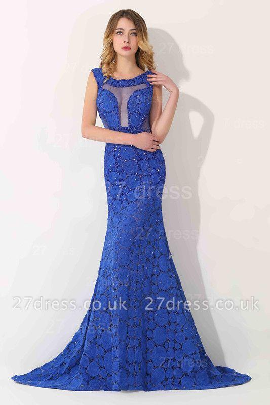 Luxury Royal Blue Sleeveless Evening Dress UK Sweep Train