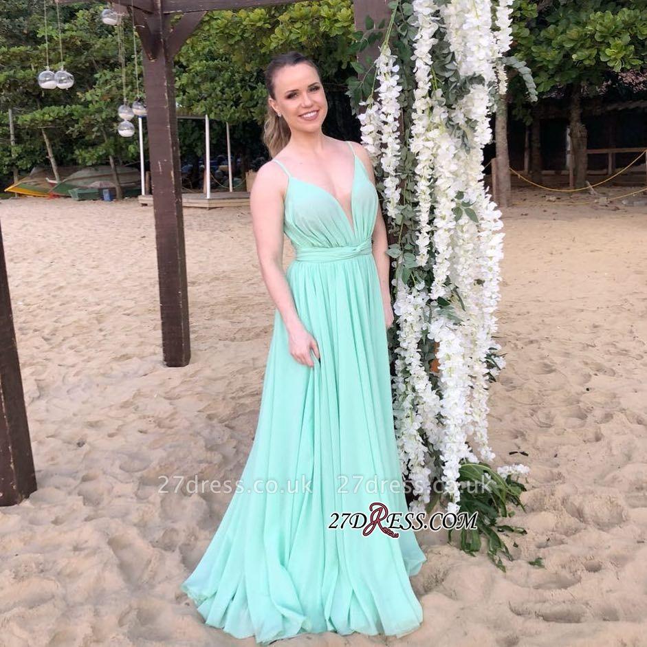 Simple Spaghettis-Straps Long Prom Dress UK | Chiffon V-Neck Evening Gowns