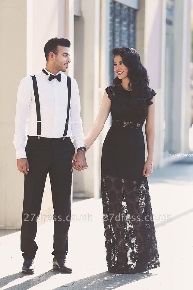 Elegant A-line Black Lace Evening Dress UK Cap Sleeve Floor-length
