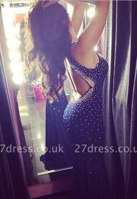 Elegant Halter Mermaid Black Prom Dress UK Sleeveless With Beadings