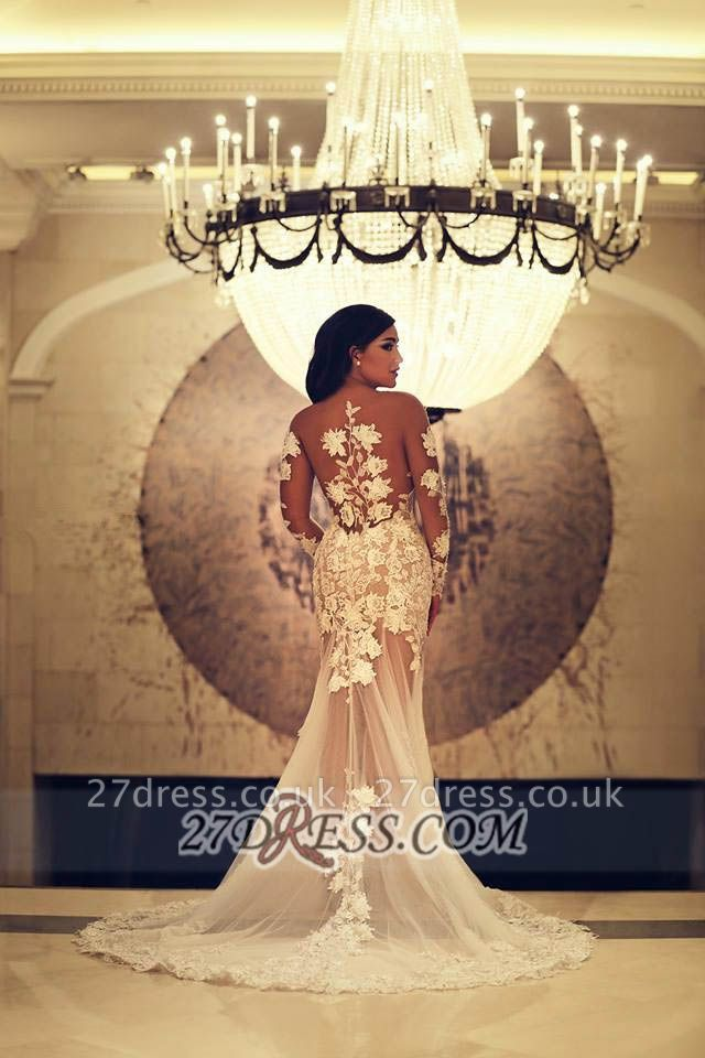 Elegant Long Sleeve Tulle Mermaid Prom Dress UK With Lace Appliques