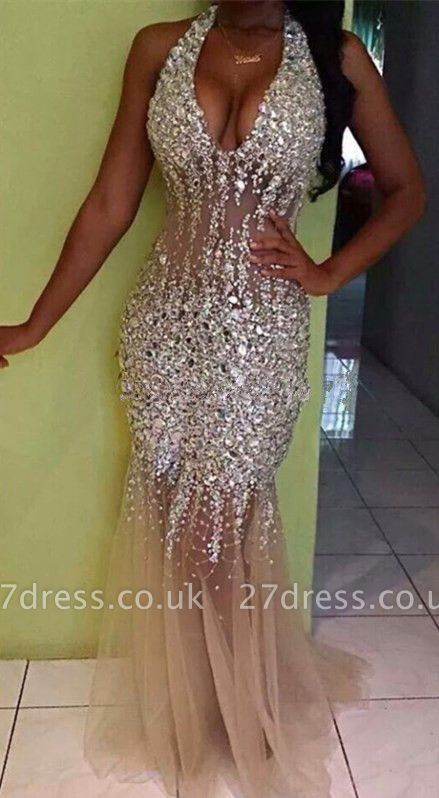 Fit And Flare V-Neck Crystals Prom Dress UKes UK Mermaid Tulle