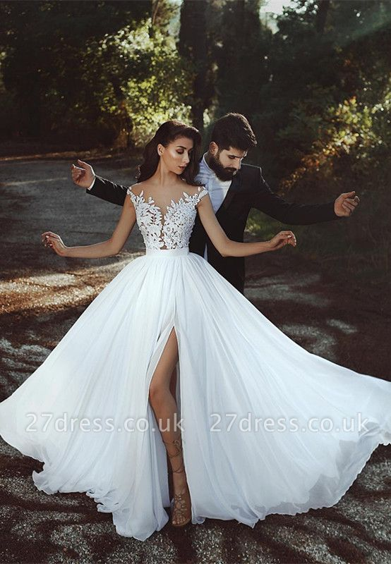 Cap-Sleeve Lace Wedding Dress    Bridal Gowns With Slit BA8543