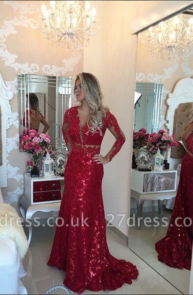 Gorgeous Red Mermaid Sequins Prom Dress UK Lace Appliques Backless