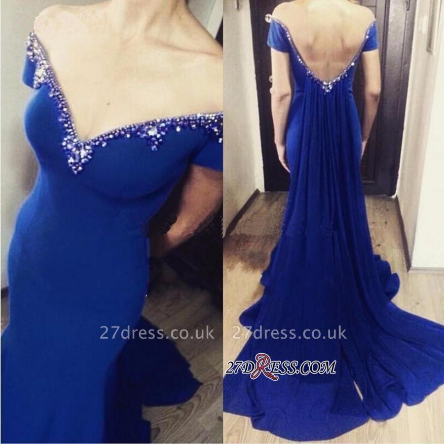 Crystal Off-the-Shoulder Open-Back Royal-Blue Elegant Mermaid Prom Dress UK
