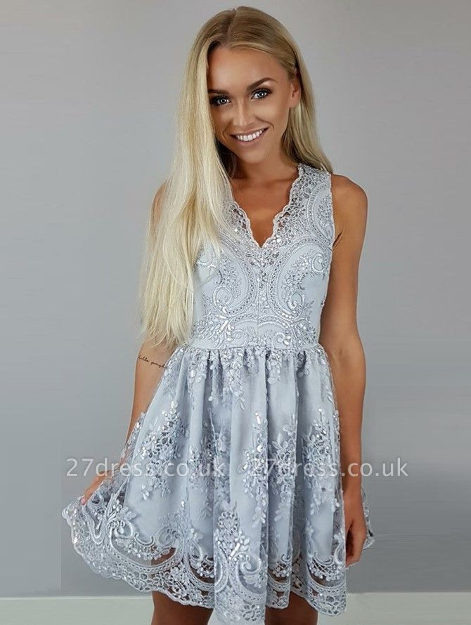 Sexy V-neck Lace Appliques Homecoming Dress UK Sequins Short Party Gowns BA7136