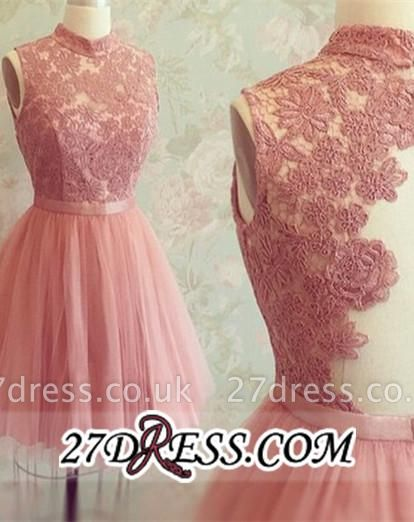 High-Neck Mini Lace Appliques Newest Sleeveless Homecoming Dress UK