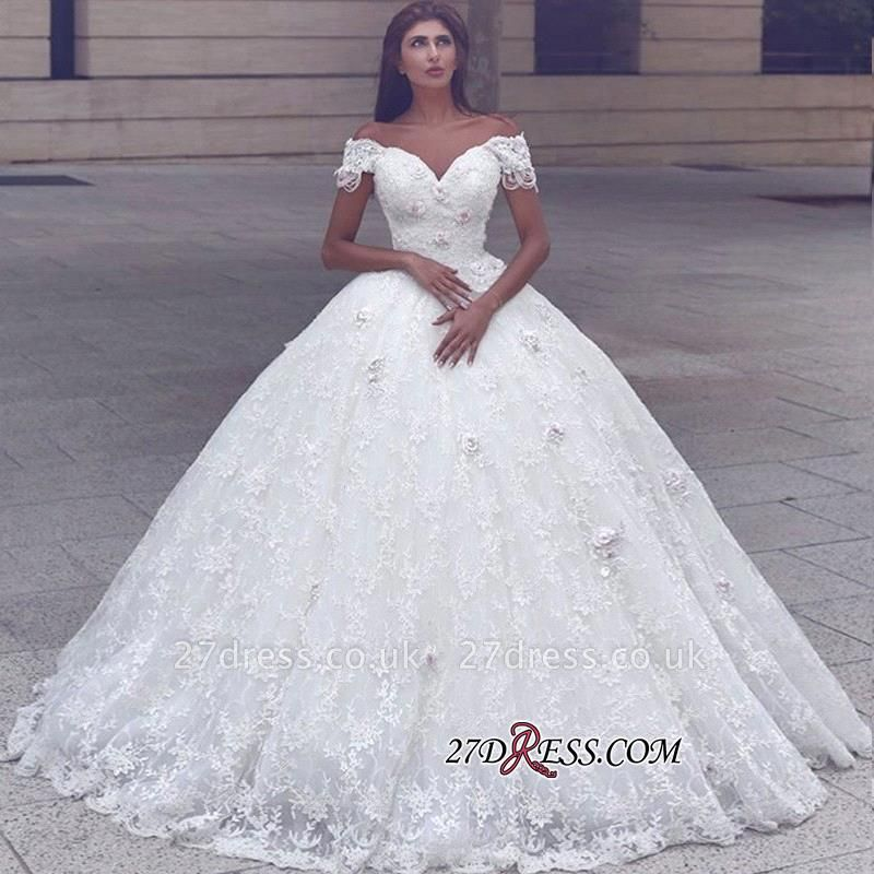 Ball-Gown Lace Elegant Cap-Sleeve Lace Wedding Dress