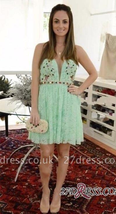 Crystal Lace Empire Sweetheart Sleeveless Mini Homecoming Dress UKes UK