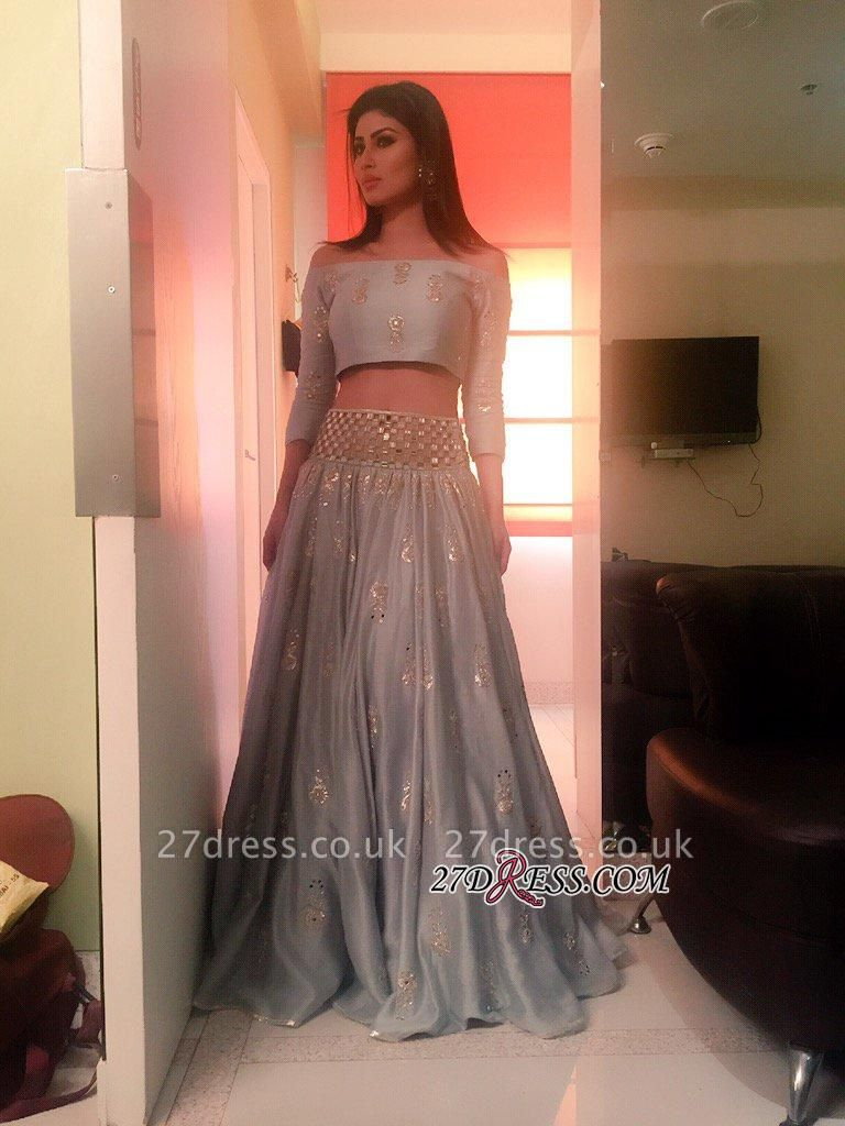 Newest Off-the-shoulder Two Piece A-line Long Prom Dress UK