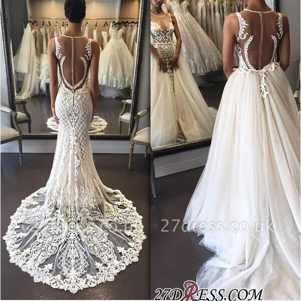 Illusion Detachable-Train Lace Delicate Zipper Sleeveless Wedding Dress bd028