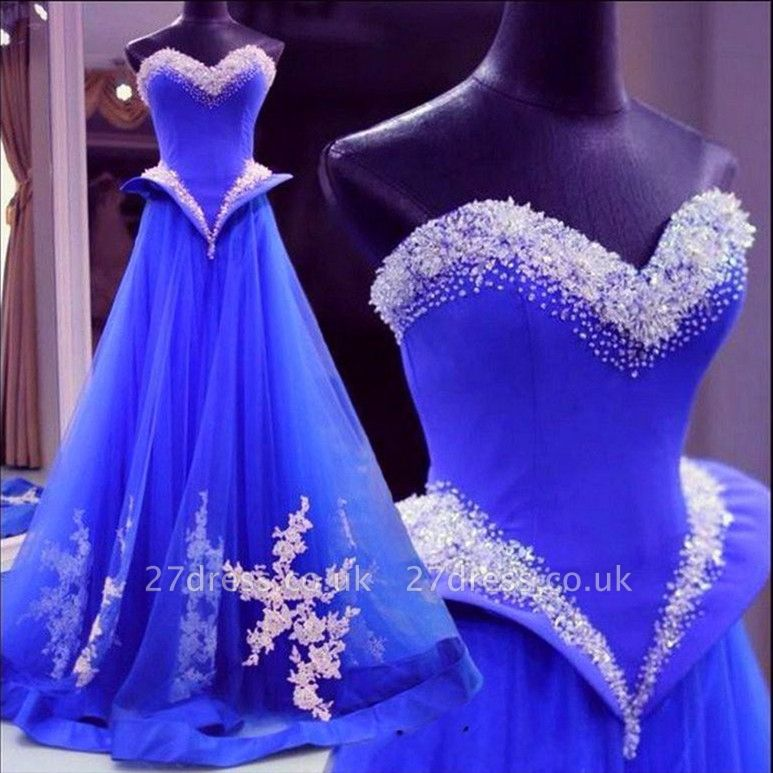Gorgeous Sweetheart Tulle Evening Dress UK With Appliques Beadings